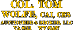 Col Tom Wolfe, Auctioneer/Broker LLC : Col Tom Wolfe