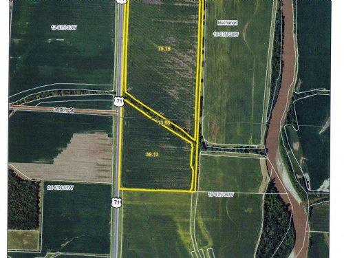 128.80 Acres M/l Bottom Farm : Braddyville : Page County : Iowa