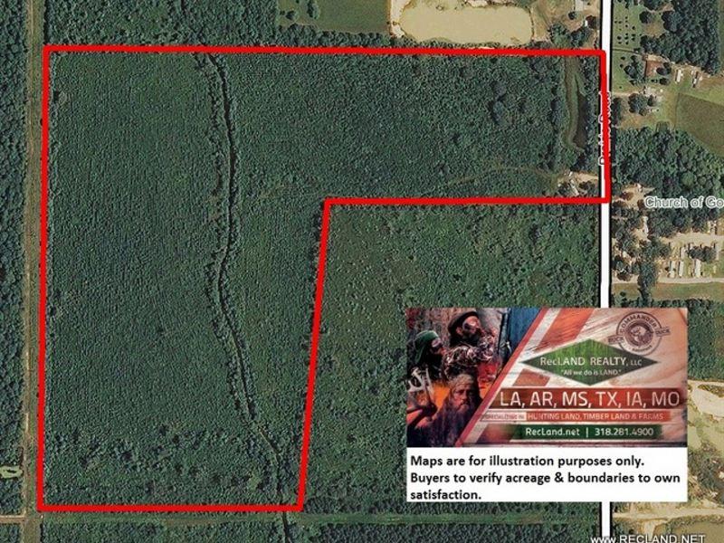 80 Ac - Timberland With Home Site : Monroe : Ouachita Parish : Louisiana