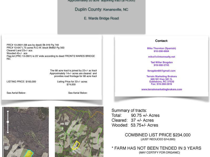 3 Tracts 88+/- Acs - Fallow 3 Years : Kenansville : Duplin County : North Carolina