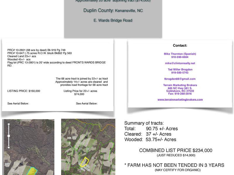3 Tracts 88+/- Acs - Fallow 3 Years : Kenansville : Duplin County : North Carolina