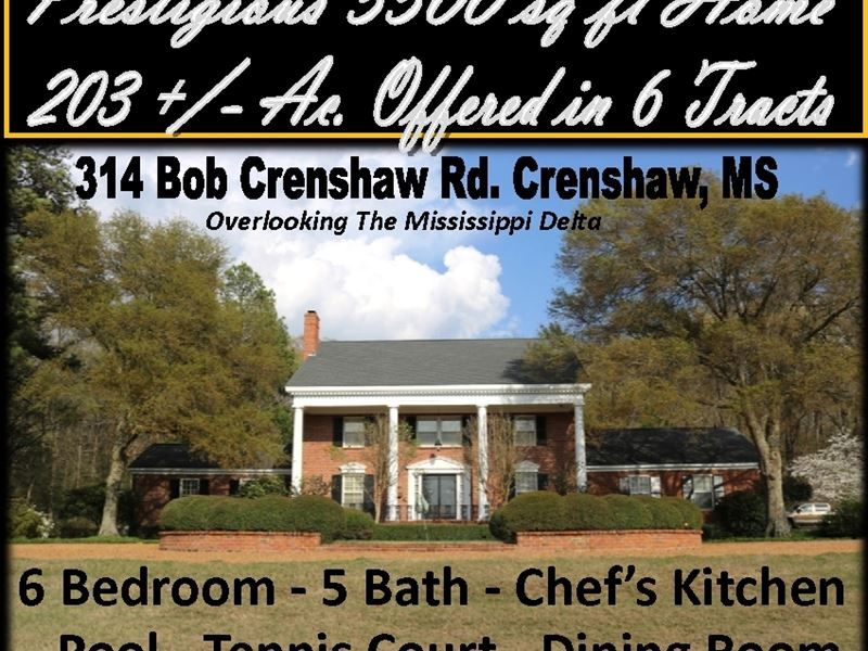 Prestigious 5500 Sq Ft Home 203 Ac. : Crenshaw : Panola County : Mississippi