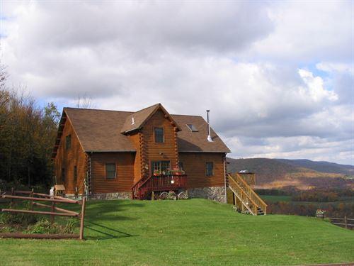 Log Home Catskill Mountains 52 Acre : Roxbury : Delaware County : New York