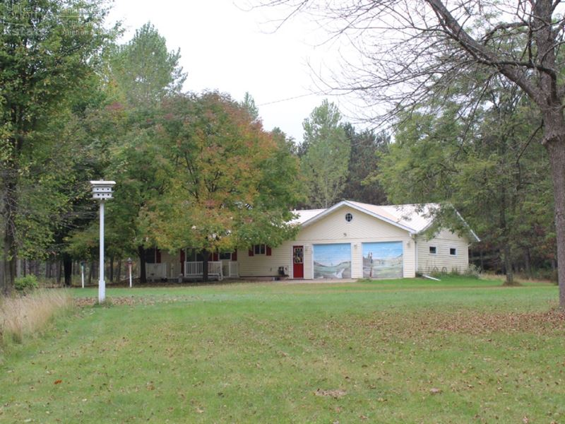 Updated Ranch On 40 Acres : Granton : Clark County : Wisconsin