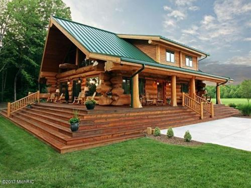 Log Home Splendor : Three Rivers : Cass County : Michigan