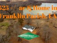 525 Ac - Hunting, Home & Lake : Winnsboro : Franklin Parish : Louisiana
