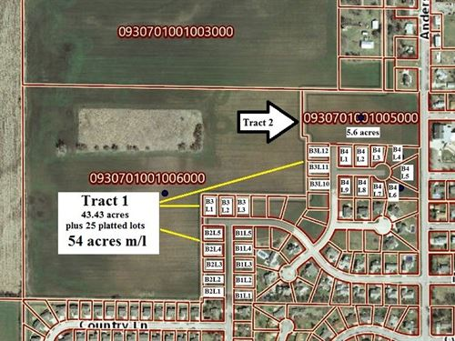 60 Acres M/L Farmland, Development : North Newton : Harvey County : Kansas