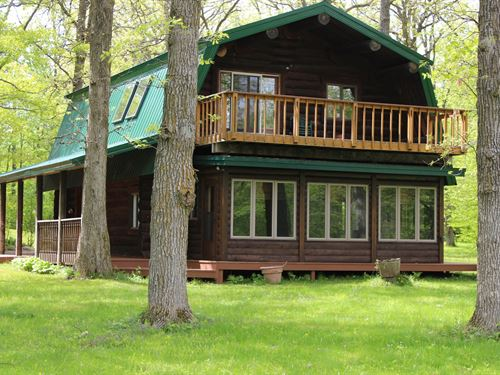 Log Home on Rum River, Central MN : Onamia : Mille Lacs County : Minnesota