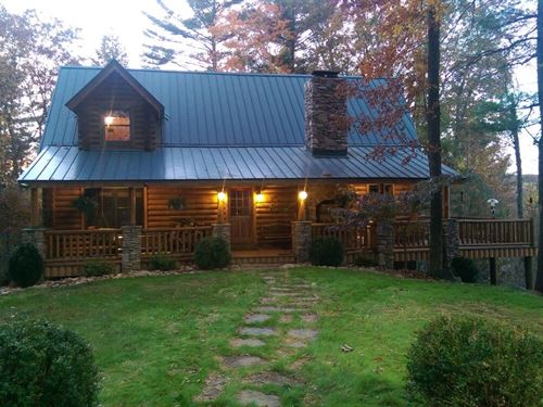 Gorgeous Post + Beam Log Home : Ennice : Alleghany County : North Carolina