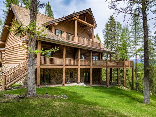 Farm To Market Custom Log Home : Whitefish : Flathead County : Montana