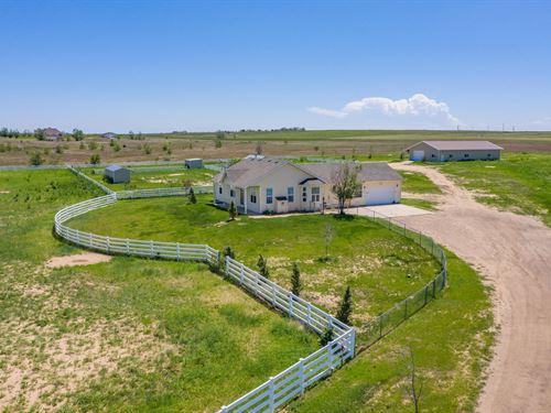 Beautiful Ranch With Pond and Views : Brighton : Adams County : Colorado