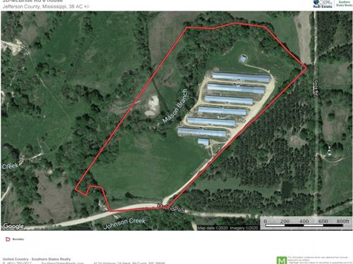 6 House Broiler Poultry Farm 38 Acr : Patterson : Jefferson County : Mississippi