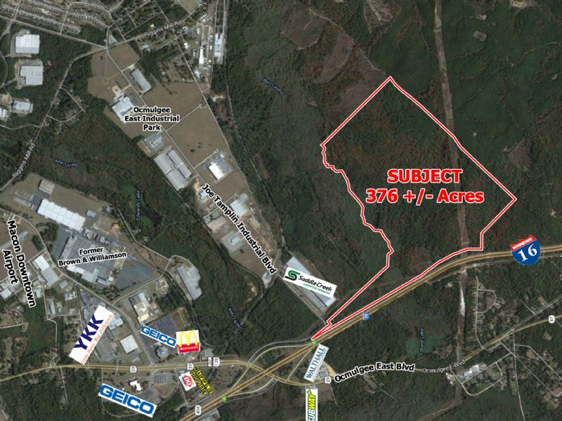 Reduced, 376 Acres On I-16 : Macon : Bibb County : Georgia